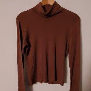 Brown Long Sleeve Blouse Turtleneck - M